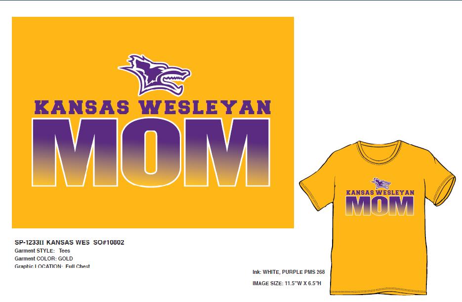 Kansas Wesleyan Mom T-shirt