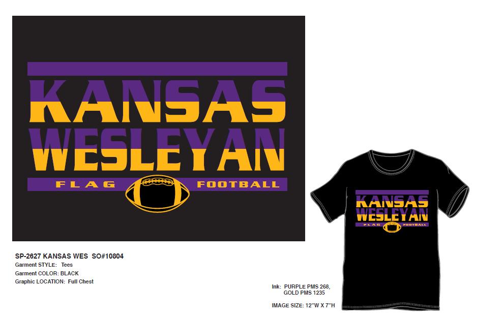 Kansas Wesleyan Flag Football T-shirt
