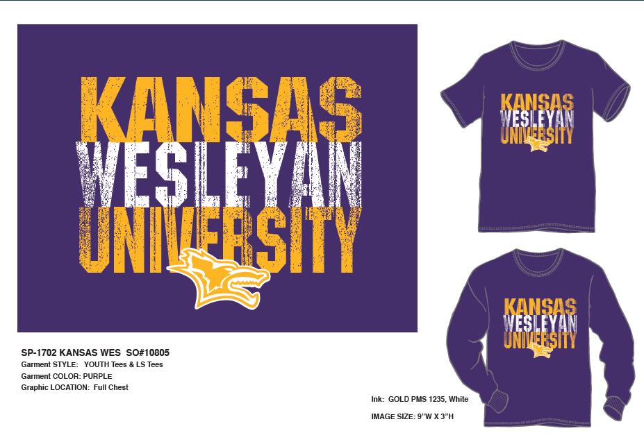 Kansas Wesleyan University Youth LS/SS T-shirt